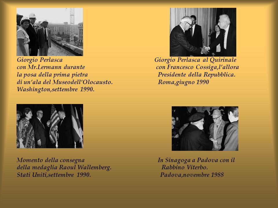 Giorgio Perlasca Giorgio Perlasca al Quirinale con Mr.Lermann durante con Francesco Cossiga,lallora la posa della prima pietra Presidente della Repubb
