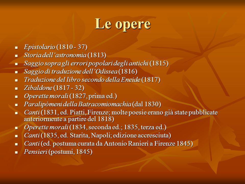 Le opere Epistolario (1810 - 37) Epistolario (1810 - 37) Storia dellastronomia (1813) Storia dellastronomia (1813) Saggio sopra gli errori popolari de