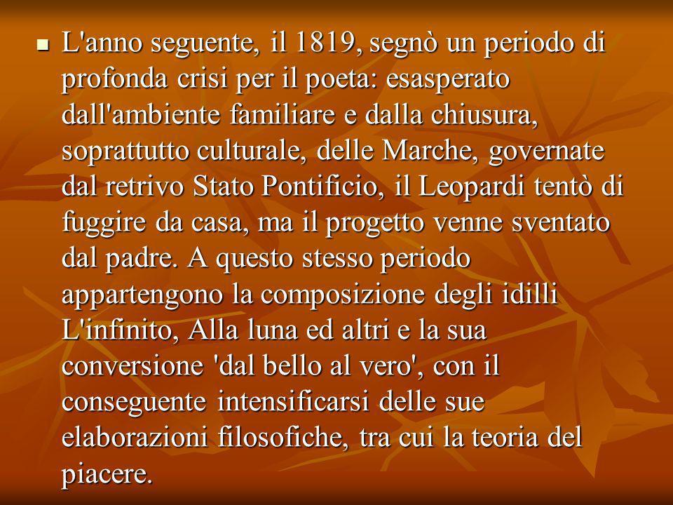 Nel 1822 il padre gli concesse un soggiorno al di fuori di Recanati e fu così che il poeta poté andare a Roma, ospite di uno zio.