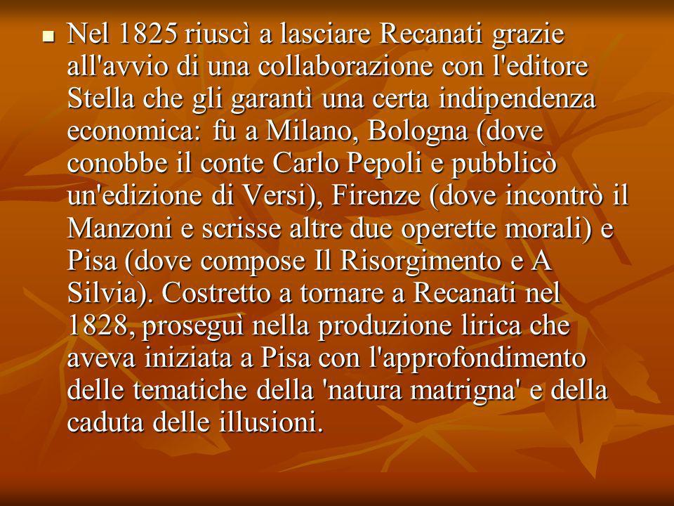 Nel 1825 riuscì a lasciare Recanati grazie all'avvio di una collaborazione con l'editore Stella che gli garantì una certa indipendenza economica: fu a