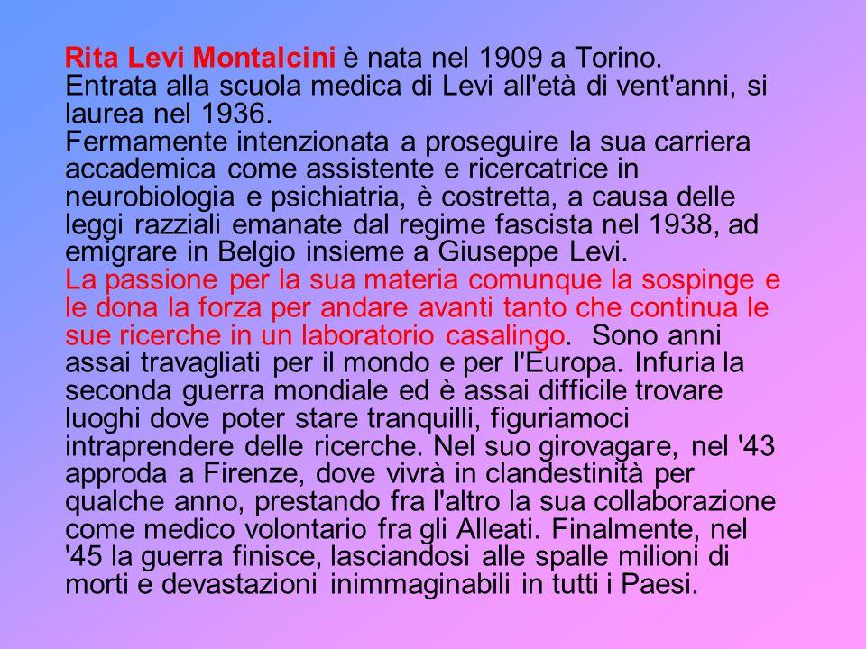Rita Levi Montalcini è nata nel 1909 a Torino. Entrata alla scuola medica di Levi all'età di vent'anni, si laurea nel 1936. Fermamente intenzionata a
