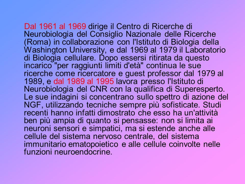 Dal 1961 al 1969 dirige il Centro di Ricerche di Neurobiologia del Consiglio Nazionale delle Ricerche (Roma) in collaborazione con l Istituto di Biologia della Washington University, e dal 1969 al 1979 il Laboratorio di Biologia cellulare.