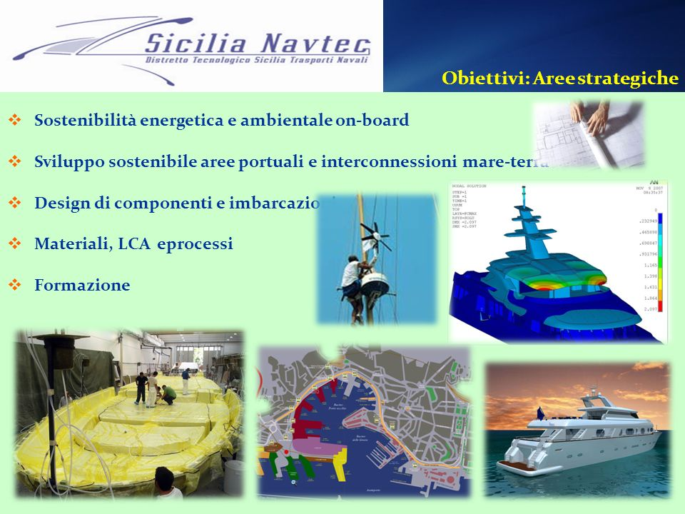 Obiettivi: Aree strategiche Sostenibilità energetica e ambientale on-board Sviluppo sostenibile aree portuali e interconnessioni mare-terra Design di