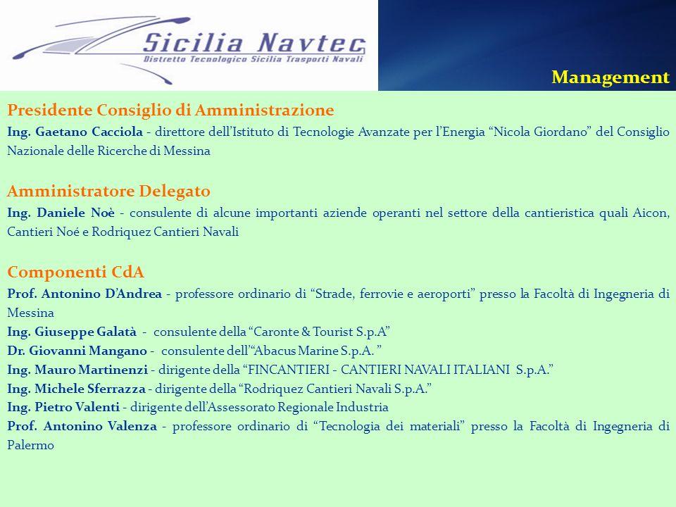 Management Presidente Consiglio di Amministrazione Ing. Gaetano Cacciola - direttore dellIstituto di Tecnologie Avanzate per lEnergia Nicola Giordano