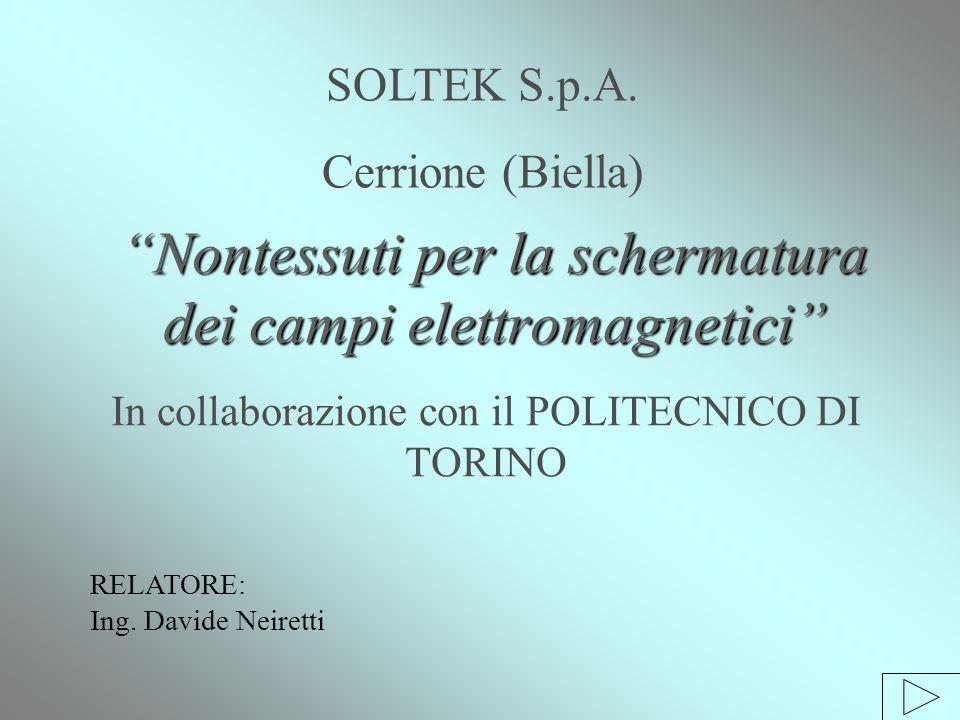 Nontessuti per la schermatura dei campi elettromagnetici In collaborazione con il POLITECNICO DI TORINO SOLTEK S.p.A.