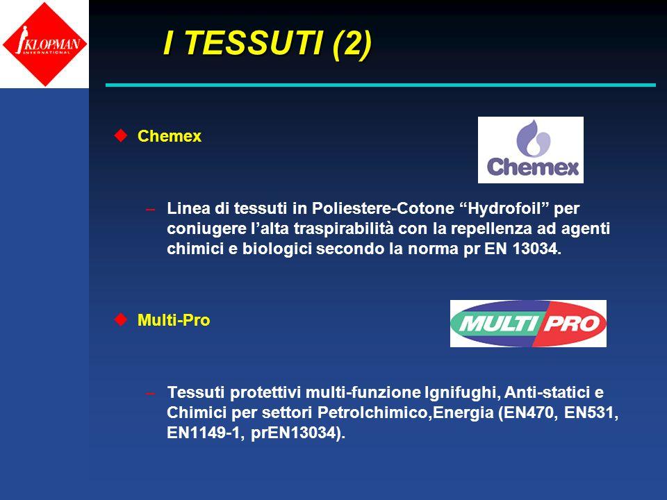 I TESSUTI (2) I TESSUTI (2) uChemex –Linea di tessuti in Poliestere-Cotone Hydrofoil per coniugere lalta traspirabilità con la repellenza ad agenti ch