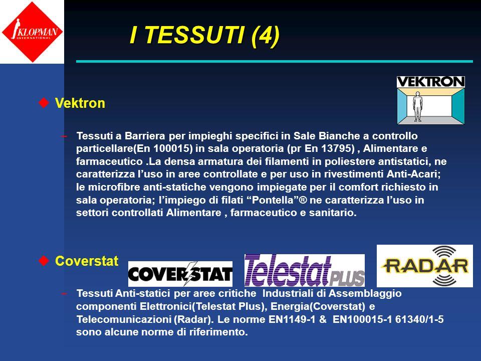 I TESSUTI (4) I TESSUTI (4) uVektron –Tessuti a Barriera per impieghi specifici in Sale Bianche a controllo particellare(En 100015) in sala operatoria