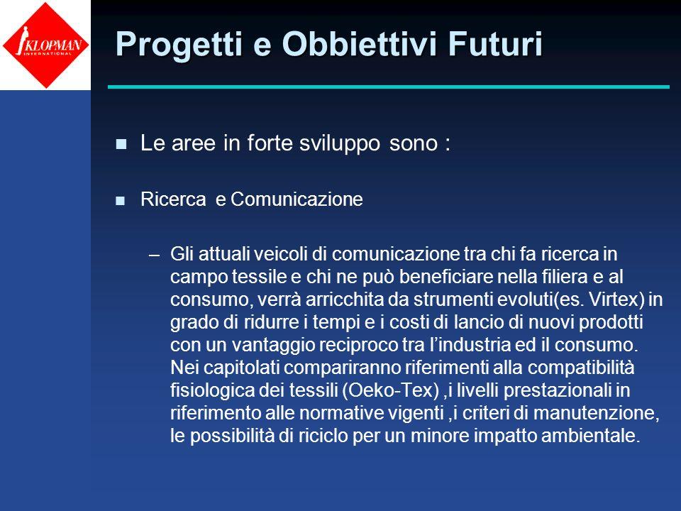 Progetti e Obbiettivi Futuri n Le aree in forte sviluppo sono : n Ricerca e Comunicazione –Gli attuali veicoli di comunicazione tra chi fa ricerca in