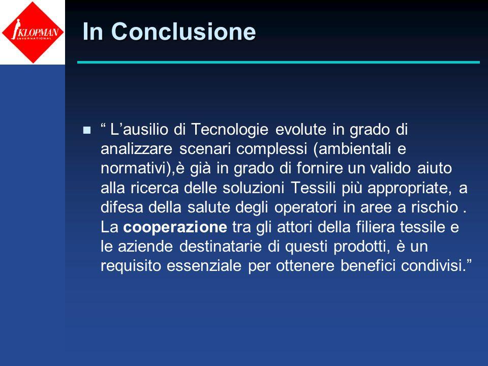 In Conclusione n Lausilio di Tecnologie evolute in grado di analizzare scenari complessi (ambientali e normativi),è già in grado di fornire un valido