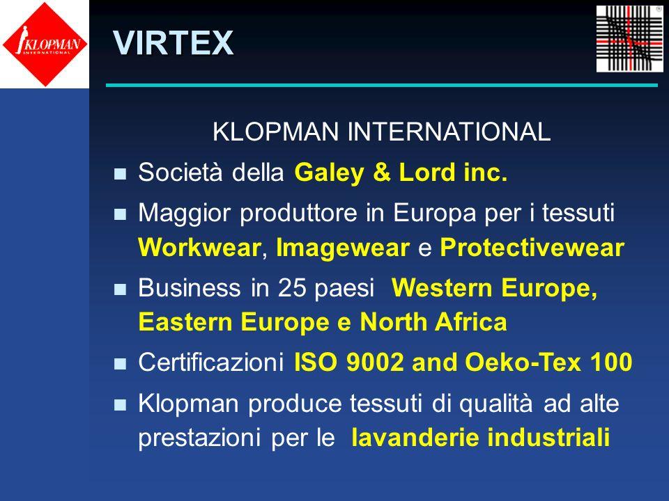 VIRTEX KLOPMAN INTERNATIONAL n Società della Galey & Lord inc. n Maggior produttore in Europa per i tessuti Workwear, Imagewear e Protectivewear n Bus