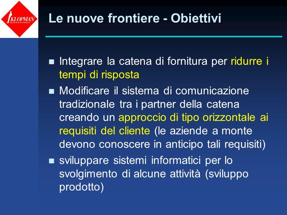 Le nuove frontiere - Obiettivi n Integrare la catena di fornitura per ridurre i tempi di risposta n Modificare il sistema di comunicazione tradizional