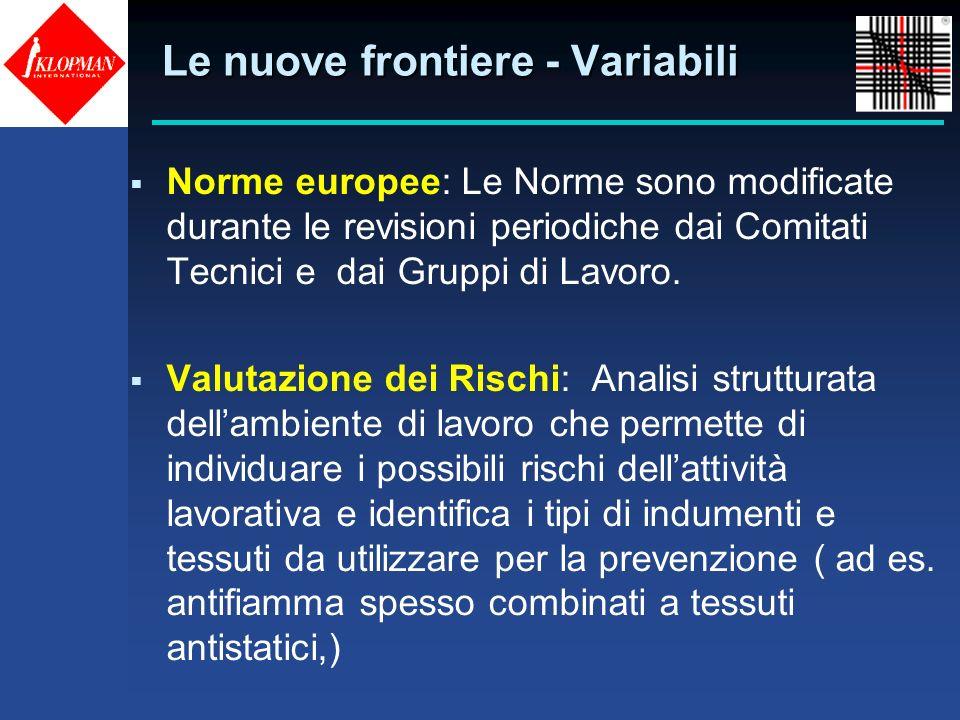Norme europee: Le Norme sono modificate durante le revisioni periodiche dai Comitati Tecnici e dai Gruppi di Lavoro. Valutazione dei Rischi: Analisi s