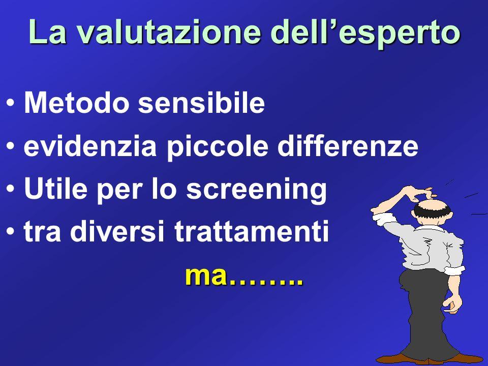La valutazione dellesperto Metodo sensibile evidenzia piccole differenze Utile per lo screening tra diversi trattamentima……..
