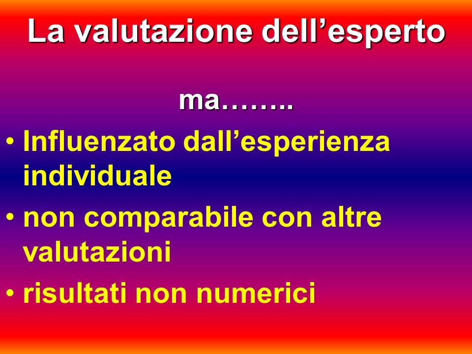 La valutazione dellesperto ma…….. Influenzato dallesperienza individuale non comparabile con altre valutazioni risultati non numerici
