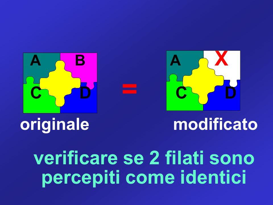 A B A X C D = C D originale modificato verificare se 2 filati sono percepiti come identici