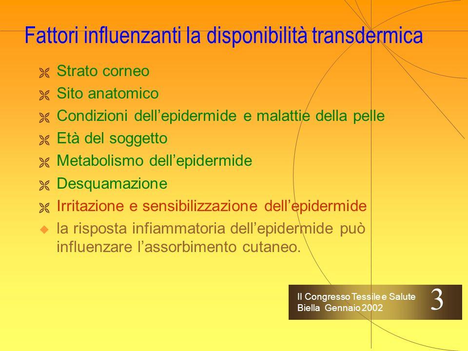 II Congresso Tessile e Salute Biella Gennaio 2002 Fattori influenzanti la disponibilità transdermica Strato corneo Sito anatomico Condizioni dellepide
