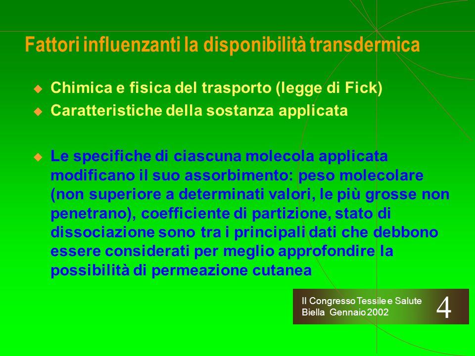 II Congresso Tessile e Salute Biella Gennaio 2002 Fattori influenzanti la disponibilità transdermica Chimica e fisica del trasporto (legge di Fick) La