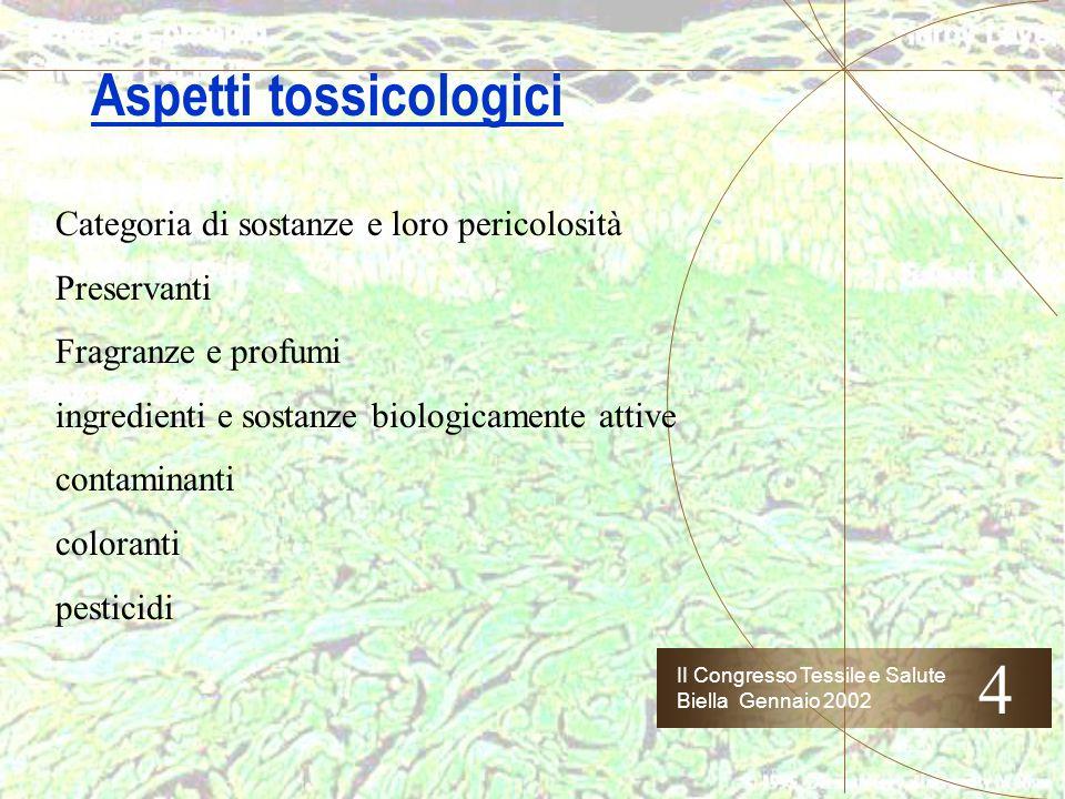 II Congresso Tessile e Salute Biella Gennaio 2002 Aspetti tossicologici 4 Grado di esposizione del consumatore: cosmetici > farmaci OTC > farmaci > pr