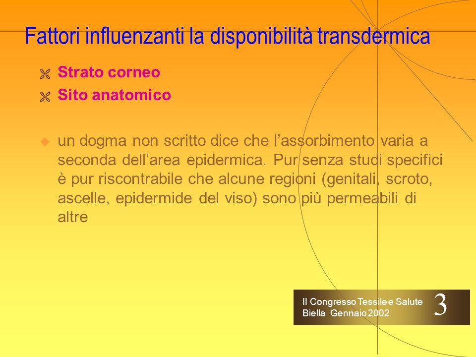 II Congresso Tessile e Salute Biella Gennaio 2002 La struttura di riferimento Percorsi di penetrazione nellepidermide intercellulare transcellulare sh
