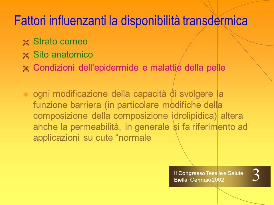II Congresso Tessile e Salute Biella Gennaio 2002 Fattori influenzanti la disponibilità transdermica Strato corneo Sito anatomico un dogma non scritto