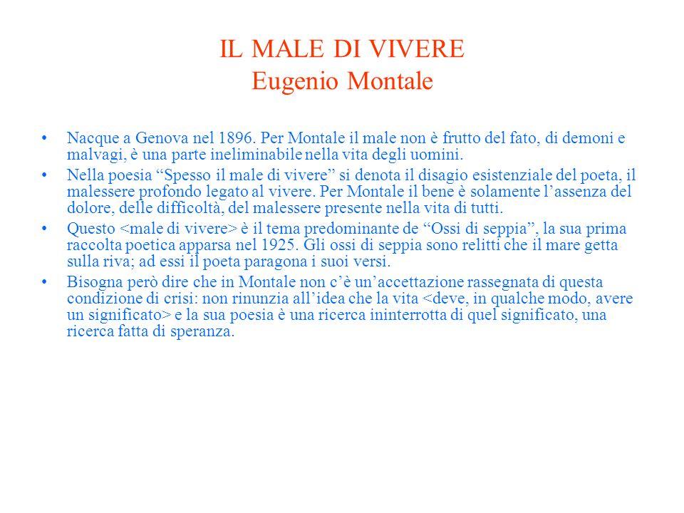 IL MALE DI VIVERE Eugenio Montale Nacque a Genova nel 1896.
