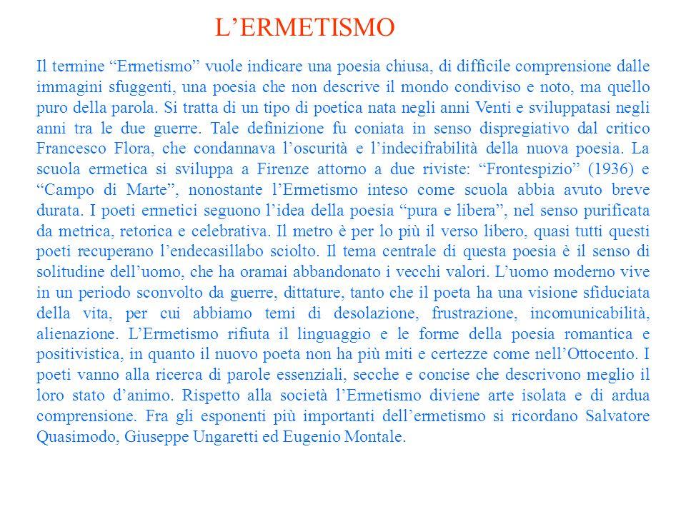 Il termine Ermetismo vuole indicare una poesia chiusa, di difficile comprensione dalle immagini sfuggenti, una poesia che non descrive il mondo condiviso e noto, ma quello puro della parola.