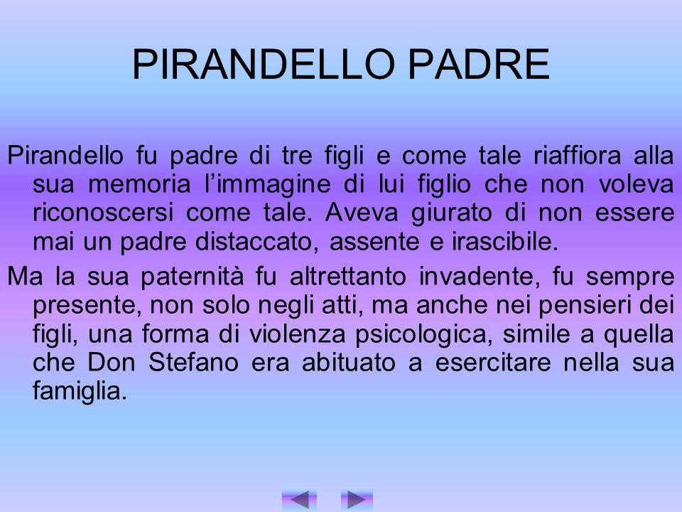 PIRANDELLO PADRE Pirandello fu padre di tre figli e come tale riaffiora alla sua memoria limmagine di lui figlio che non voleva riconoscersi come tale.