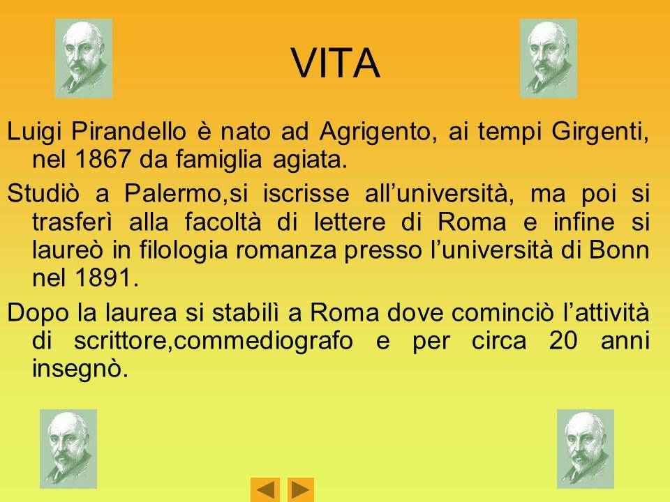 VITA Luigi Pirandello è nato ad Agrigento, ai tempi Girgenti, nel 1867 da famiglia agiata. Studiò a Palermo,si iscrisse alluniversità, ma poi si trasf
