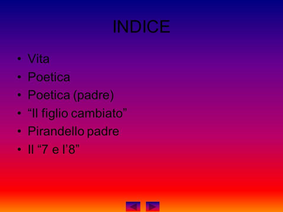 INDICE Vita Poetica Poetica (padre) Il figlio cambiato Pirandello padre Il 7 e l8