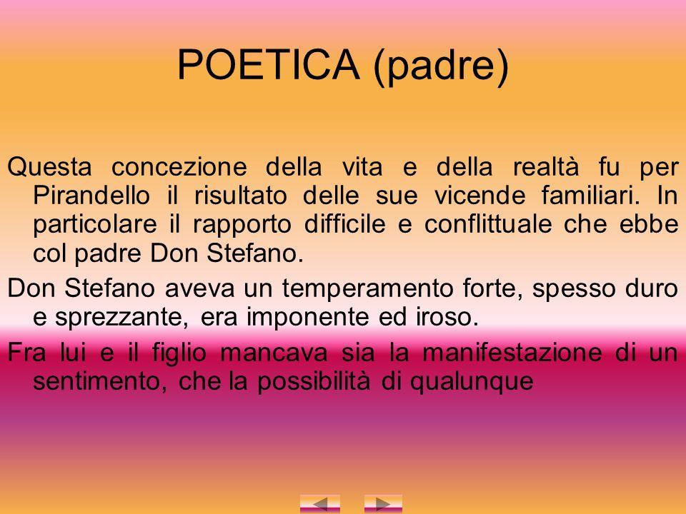 POETICA (padre) Questa concezione della vita e della realtà fu per Pirandello il risultato delle sue vicende familiari.