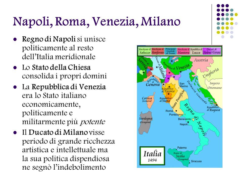 Napoli, Roma, Venezia, Milano Regno di Napoli si unisce politicamente al resto dellItalia meridionale Lo Stato della Chiesa consolida i propri domini