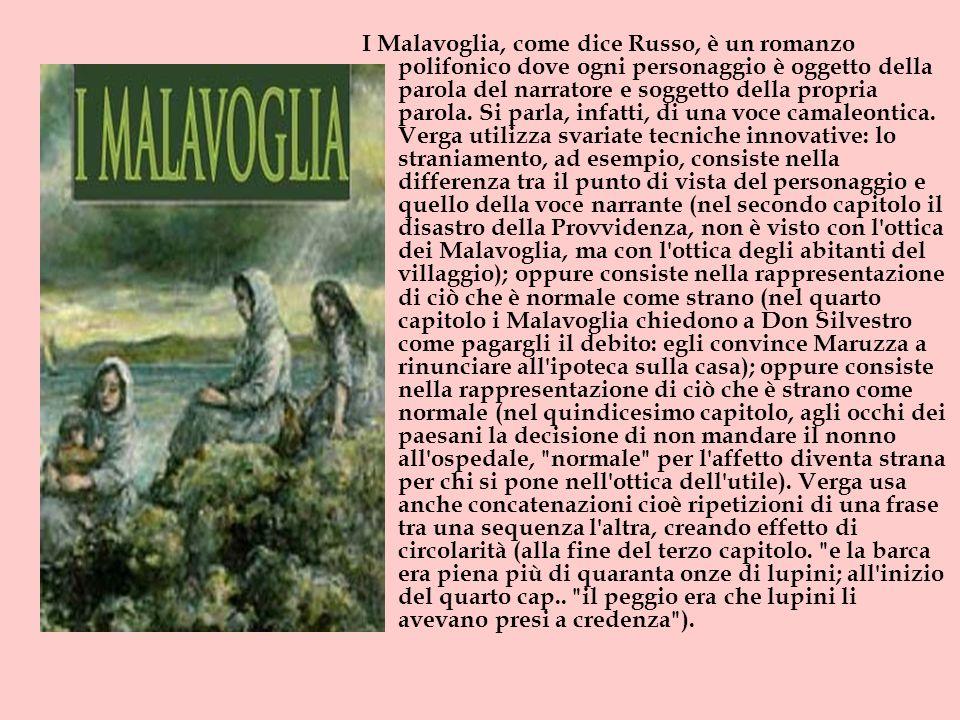 I Malavoglia, come dice Russo, è un romanzo polifonico dove ogni personaggio è oggetto della parola del narratore e soggetto della propria parola. Si