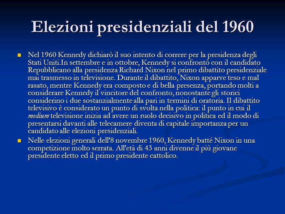 Elezioni presidenziali del 1960 Nel 1960 Kennedy dichiarò il suo intento di correre per la presidenza degli Stati Uniti.In settembre e in ottobre, Ken