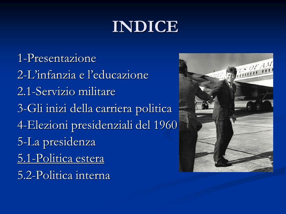 INDICE INDICE 1-Presentazione 2-Linfanzia e leducazione 2.1-Servizio militare 3-Gli inizi della carriera politica 4-Elezioni presidenziali del 1960 5-