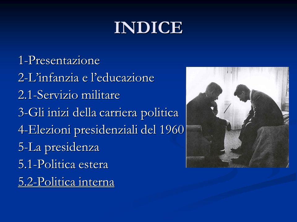 INDICE 1-Presentazione 2-Linfanzia e leducazione 2.1-Servizio militare 3-Gli inizi della carriera politica 4-Elezioni presidenziali del 1960 5-La pres