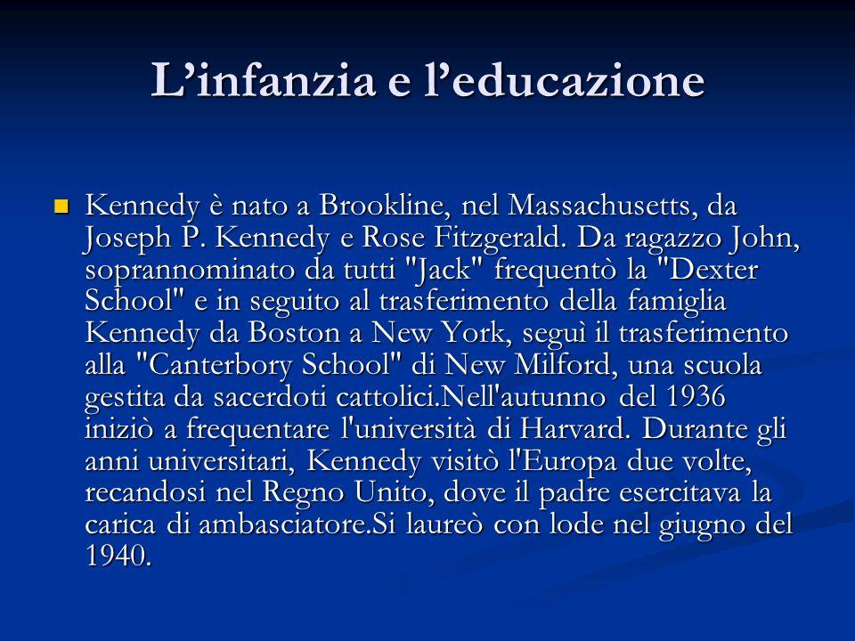 Linfanzia e leducazione Kennedy è nato a Brookline, nel Massachusetts, da Joseph P. Kennedy e Rose Fitzgerald. Da ragazzo John, soprannominato da tutt