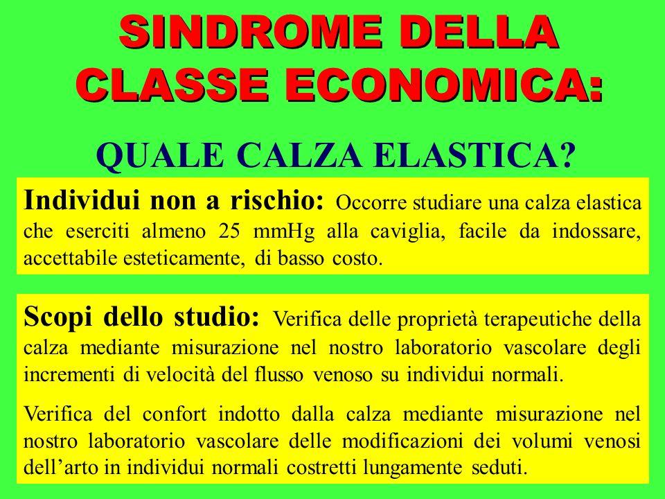 SINDROME DELLA CLASSE ECONOMICA: QUALE CALZA ELASTICA? Individui non a rischio: Occorre studiare una calza elastica che eserciti almeno 25 mmHg alla c