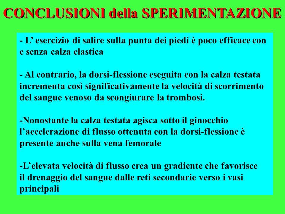 CONCLUSIONI della SPERIMENTAZIONE - L esercizio di salire sulla punta dei piedi è poco efficace con e senza calza elastica - Al contrario, la dorsi-fl