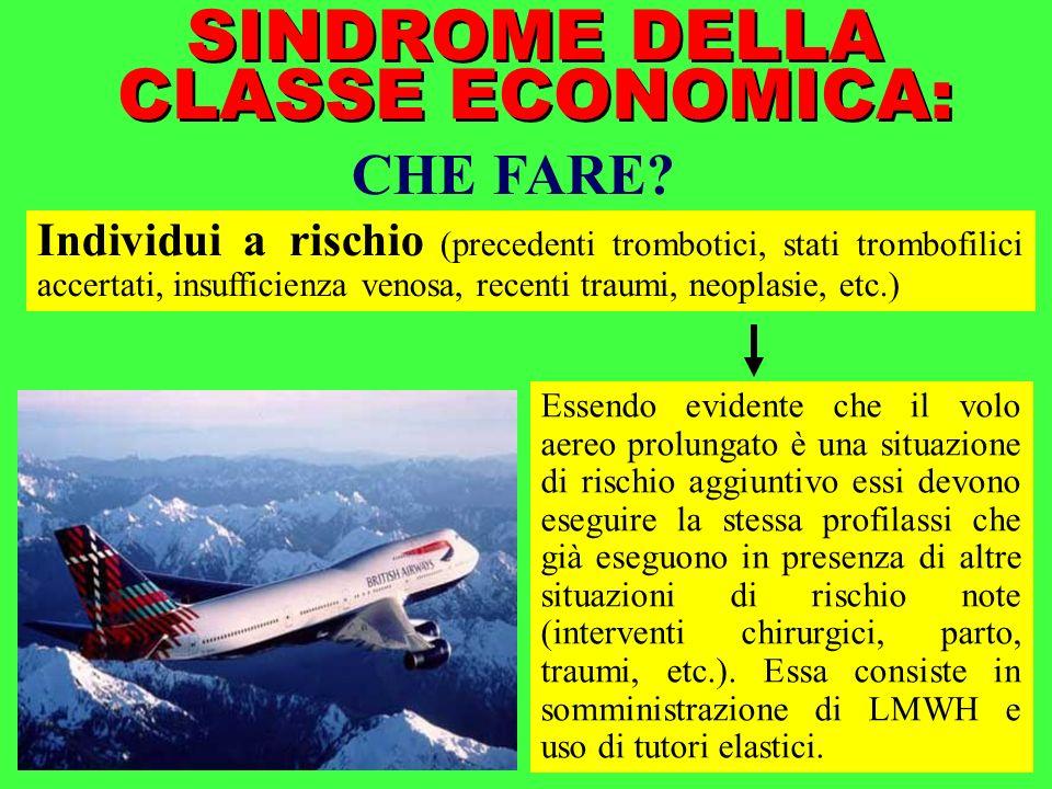 SINDROME DELLA CLASSE ECONOMICA: CHE FARE? Individui a rischio (precedenti trombotici, stati trombofilici accertati, insufficienza venosa, recenti tra