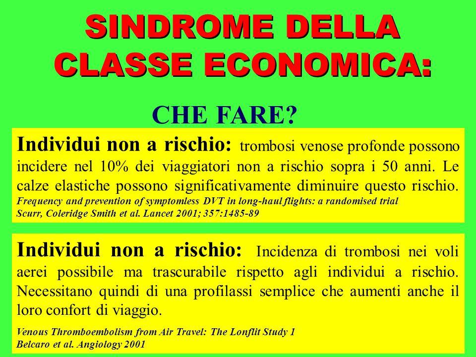 SINDROME DELLA CLASSE ECONOMICA: CHE FARE? Individui non a rischio: Incidenza di trombosi nei voli aerei possibile ma trascurabile rispetto agli indiv