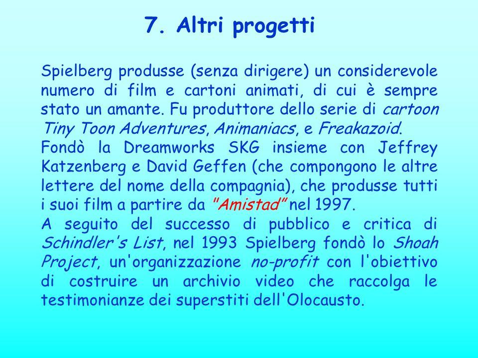 7. Altri progetti Spielberg produsse (senza dirigere) un considerevole numero di film e cartoni animati, di cui è sempre stato un amante. Fu produttor