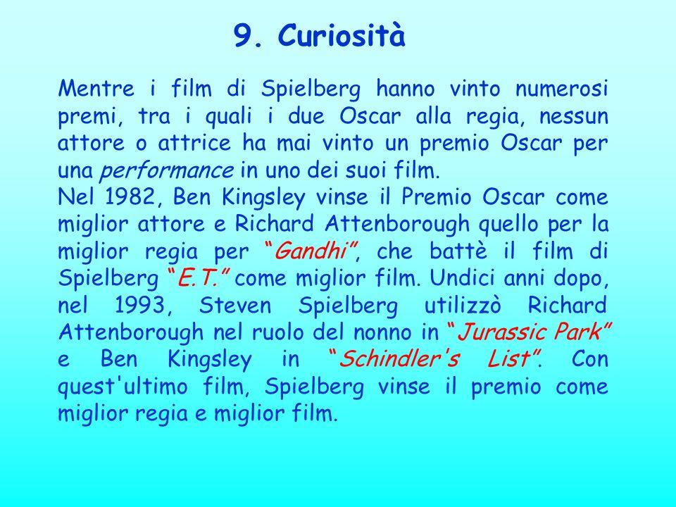 9. Curiosità Mentre i film di Spielberg hanno vinto numerosi premi, tra i quali i due Oscar alla regia, nessun attore o attrice ha mai vinto un premio