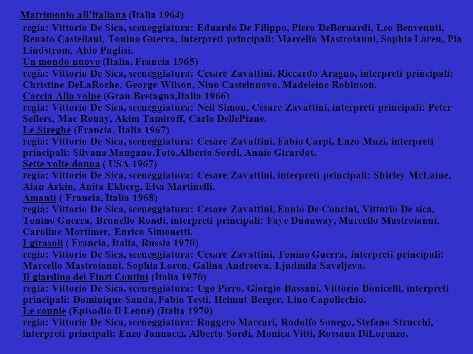 Lo chiameremo Andrea (Italia 1972 ) regia: Vittorio De Sica, sceneggiatura: Cesare Zavattini, Leo Benvenuti, Piero De Bernardi, interpreti principali: Mariangela Melato, Nino Manfredi, Alessandro Jacarella, Anna Maria Aragona.