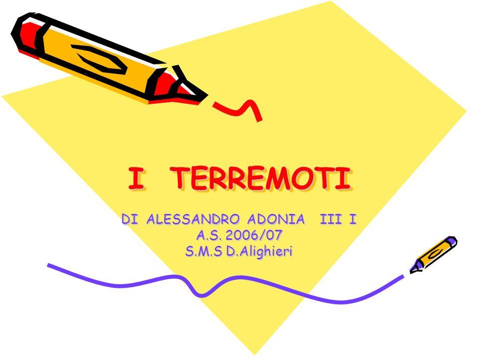 I TERREMOTI DI ALESSANDRO ADONIA III I A.S. 2006/07 S.M.S D.Alighieri
