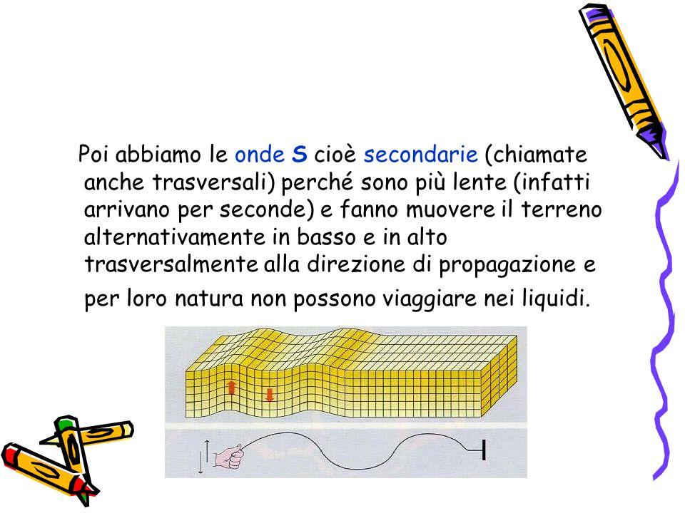 Poi abbiamo le onde S cioè secondarie (chiamate anche trasversali) perché sono più lente (infatti arrivano per seconde) e fanno muovere il terreno alternativamente in basso e in alto trasversalmente alla direzione di propagazione e per loro natura non possono viaggiare nei liquidi.