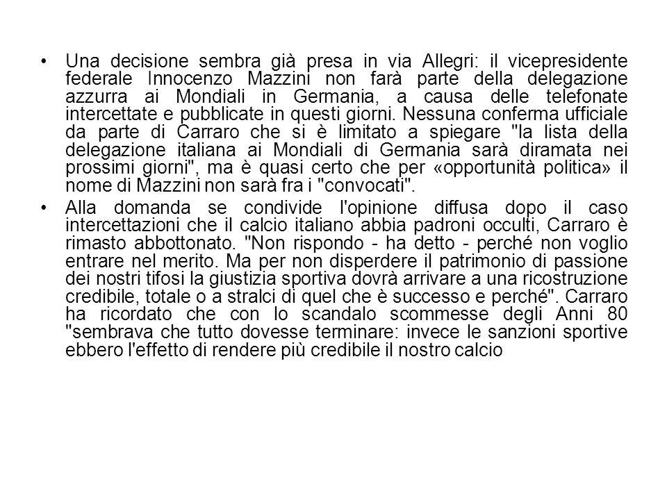 Una decisione sembra già presa in via Allegri: il vicepresidente federale Innocenzo Mazzini non farà parte della delegazione azzurra ai Mondiali in Ge