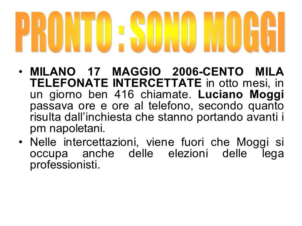 MILANO 17 MAGGIO 2006-CENTO MILA TELEFONATE INTERCETTATE in otto mesi, in un giorno ben 416 chiamate. Luciano Moggi passava ore e ore al telefono, sec