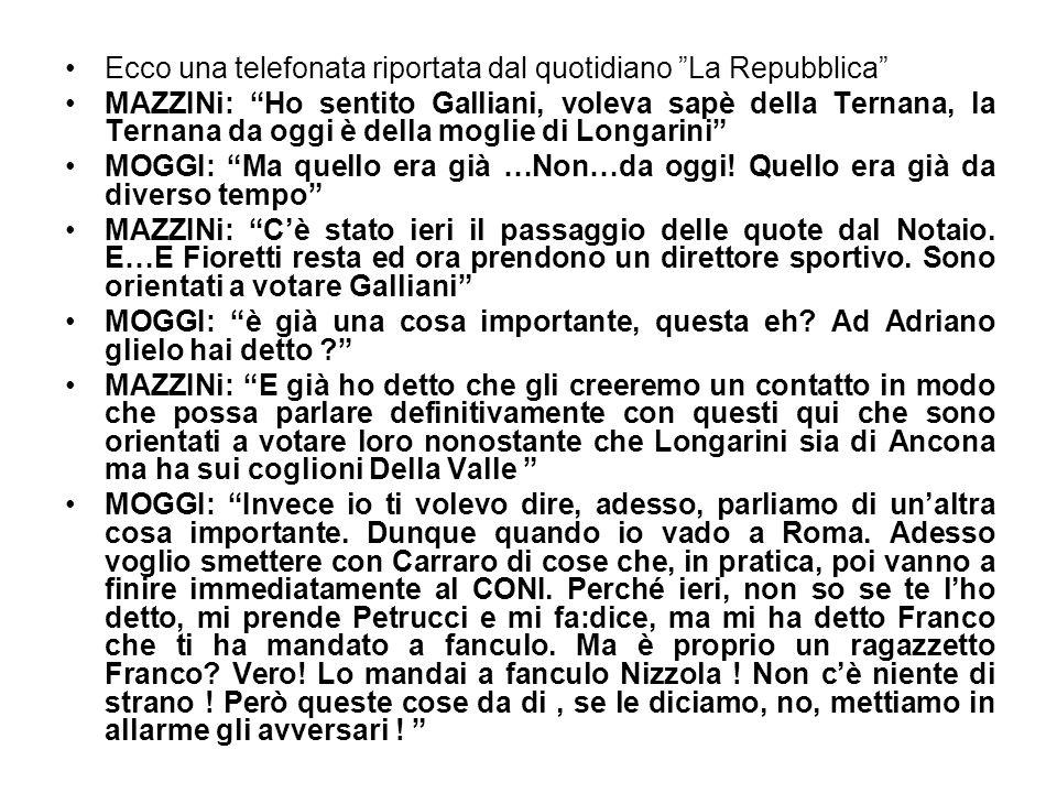 Ecco una telefonata riportata dal quotidiano La Repubblica MAZZINi: Ho sentito Galliani, voleva sapè della Ternana, la Ternana da oggi è della moglie