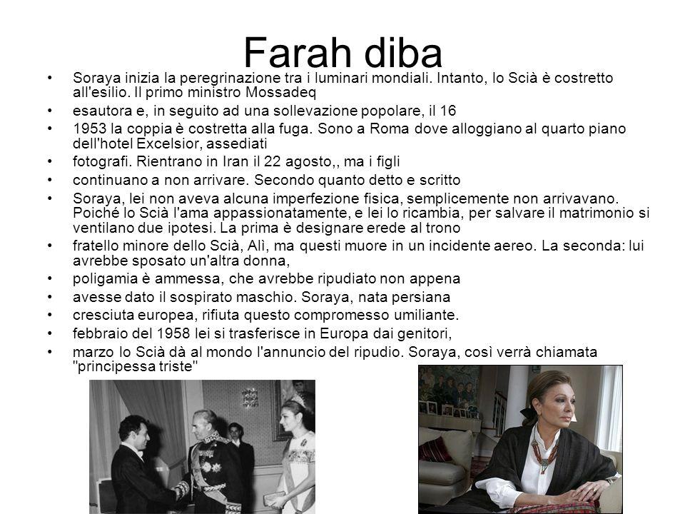 LA FAMIGLIA Nel 1939 Mohammad Reza Pahlavi sposò una sorella di Faruq I d Egitto, da cui divorziò dieci anni dopo.