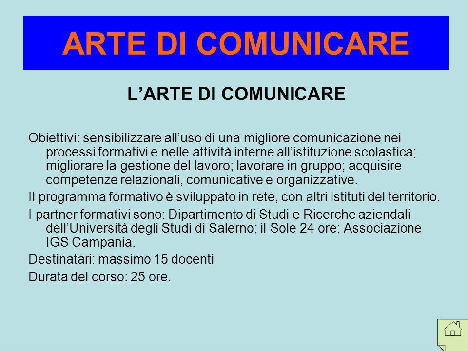 LARTE DI COMUNICARE Obiettivi: sensibilizzare alluso di una migliore comunicazione nei processi formativi e nelle attività interne allistituzione scol